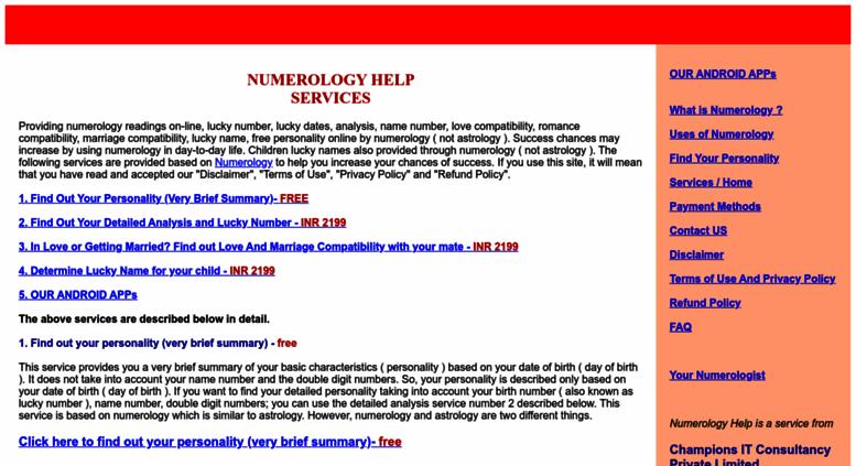 Access numerologyhelp com  astrology numerology help solutions lucky