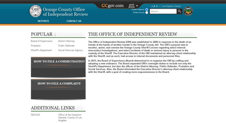 access ocoir ocgov com orange county california office of