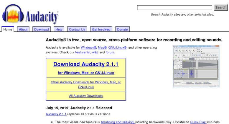 Access old audacityteam org  Audacity: Free Audio Editor and Recorder