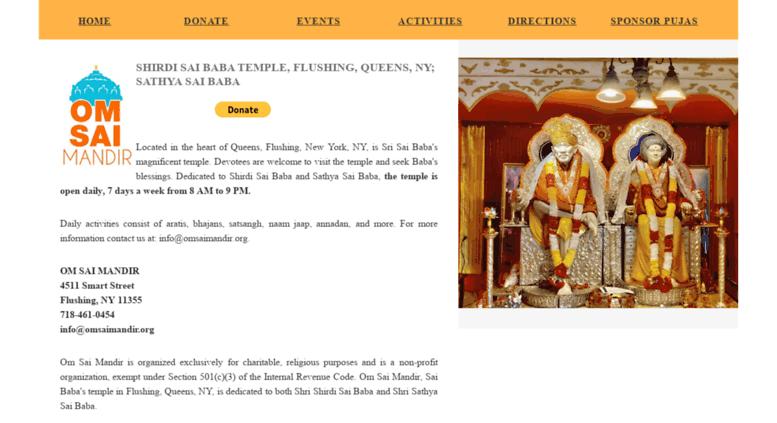 Access omsaimandir org  Shirdi Sai Baba Temple, Flushing, NY