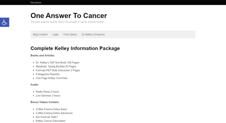 One Answer To Cancer Book