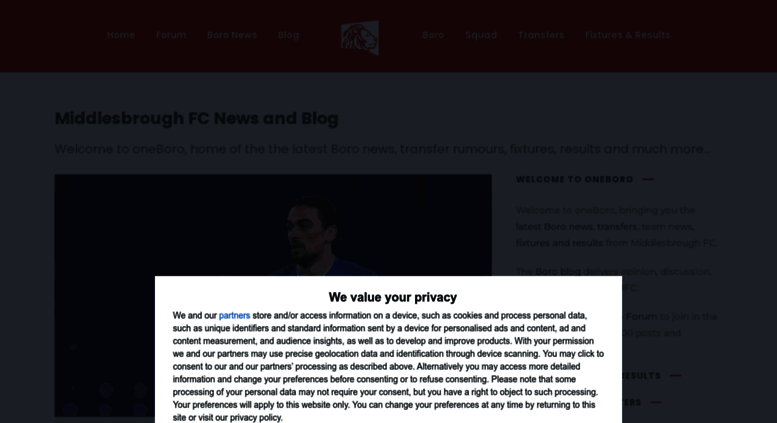 Access oneboro co uk  Boro News, Middlesbrough FC blog