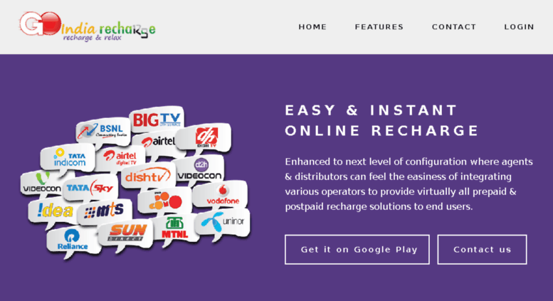 Access online goindiarecharge com  Go India Recharge