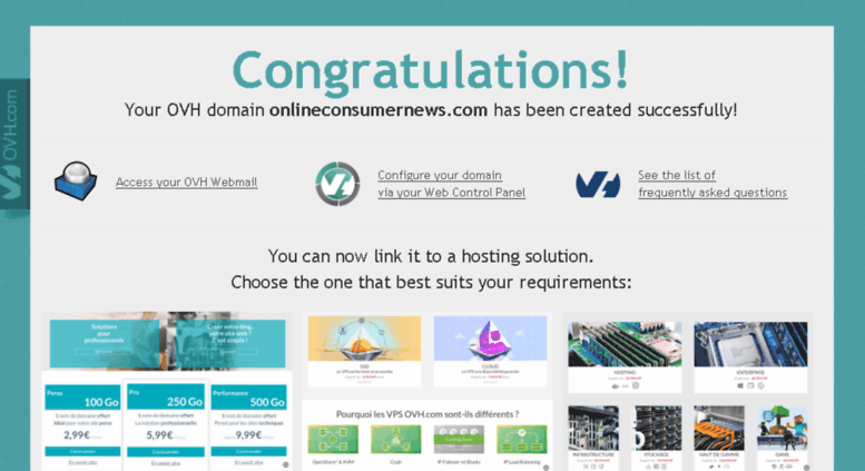 Access onlineconsumernews com  Congratulations! Your OVH domain has