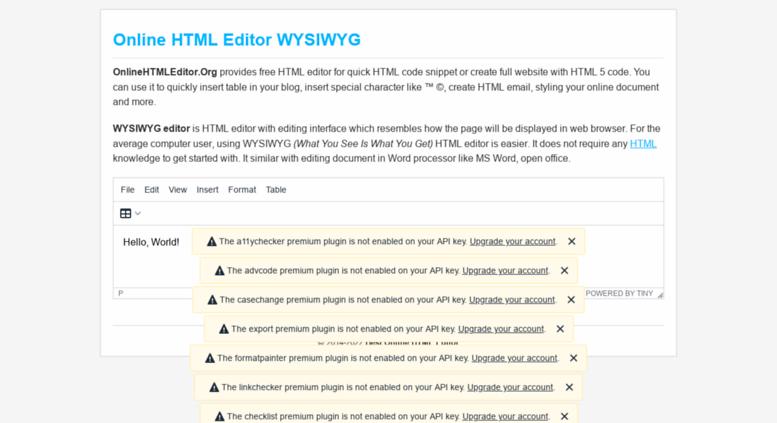 Access onlinehtmleditor org  Online HTML editor: Best Free WYSIWYG