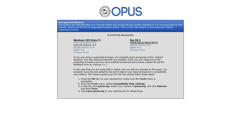 Access opus gmea org  Unsupported Browser