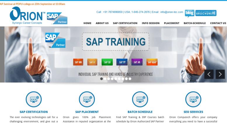 Access orion-tec com  SAP Training Institute Ahmedabad, SAP