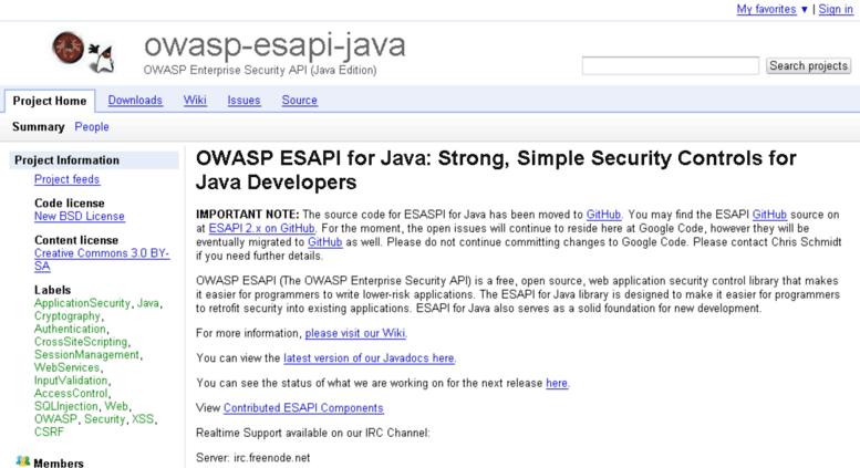 Access owasp-esapi-java googlecode com  owasp-esapi-java
