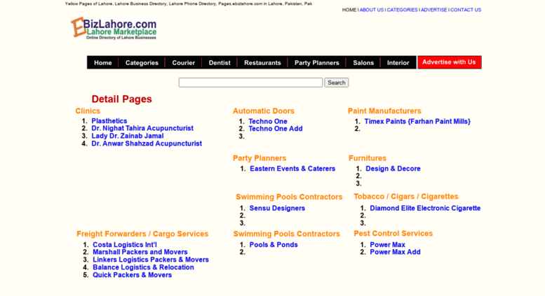 Access pages ebizlahore com  Yellow Pages of Lahore, Lahore Business