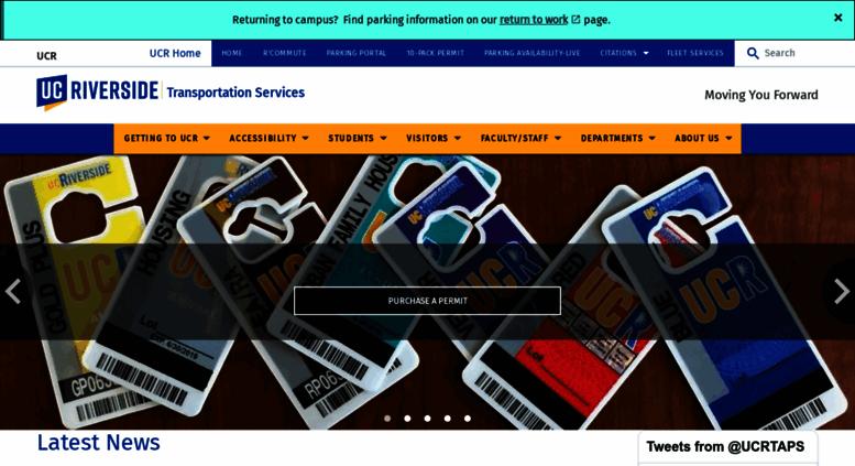 Access parking.ucr.edu. Transportation & Parking Services: Home