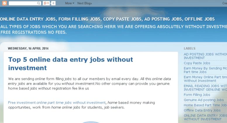 Access parttimedataentry4u blogspot com  ONLINE DATA ENTRY JOBS