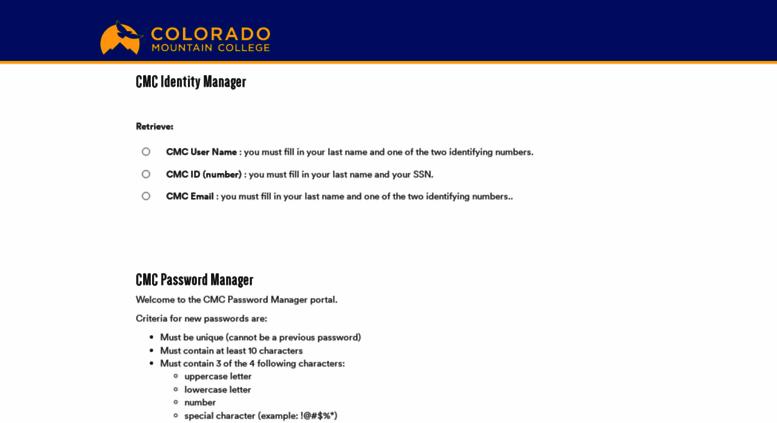 Access password coloradomtn edu  CMC Password Manager