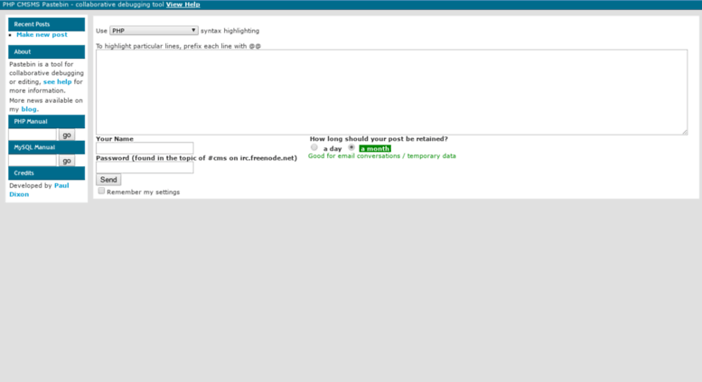 Access pastebin cmsmadesimple org  PHP CMSMS Pastebin