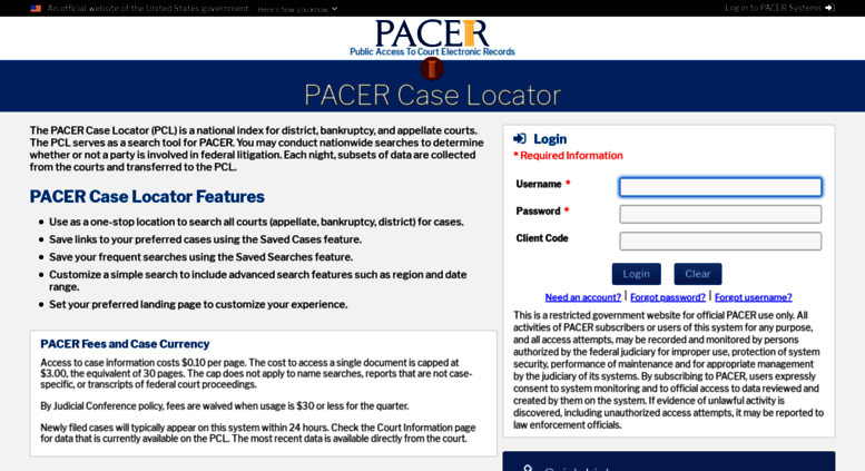 Access pcl uscourts gov  PACER Case Locator