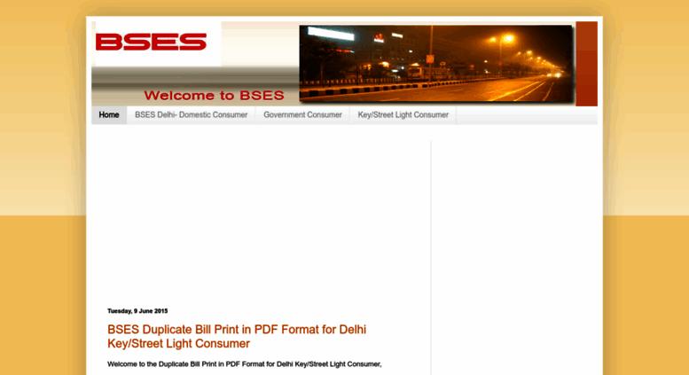 Bses Duplicate Bill Pdf Delhi