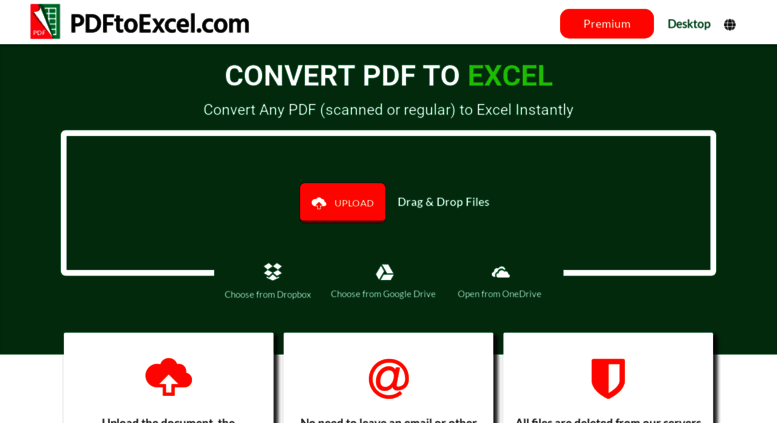 Access pdftoexcel com  Convert PDF to Excel Free Online - No
