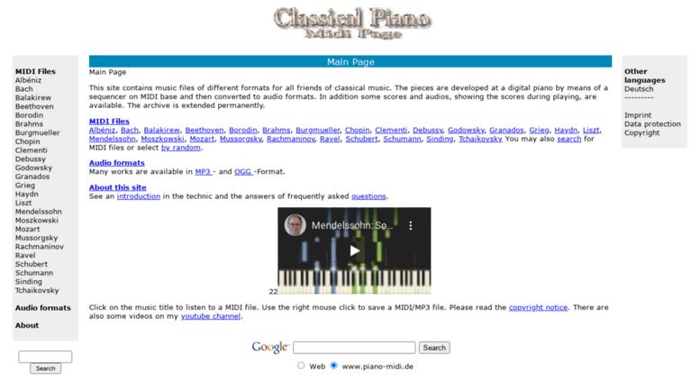 Access piano-midi com  Classical Piano Midi Page - Main Page