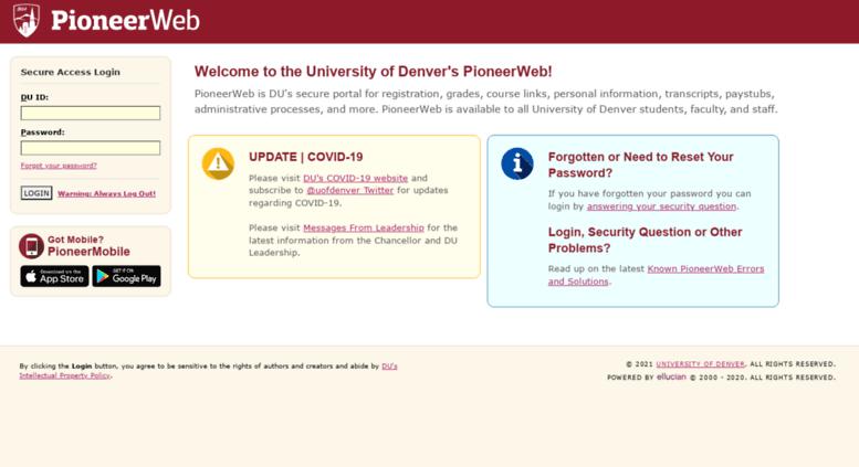 Access pioneerweb du edu  PioneerWeb - University of Denver