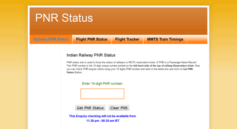 Access pnrstatus mmtstrains in  PNR Status - Check PNR Enquiry Status