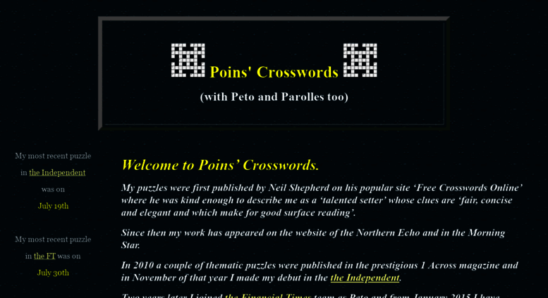 image relating to Cryptic Crosswords Printable known as Reach . Poins Cryptic Crosswords