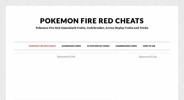 Access pokemonfireredcheats com  Pokemon Fire Red Cheats and