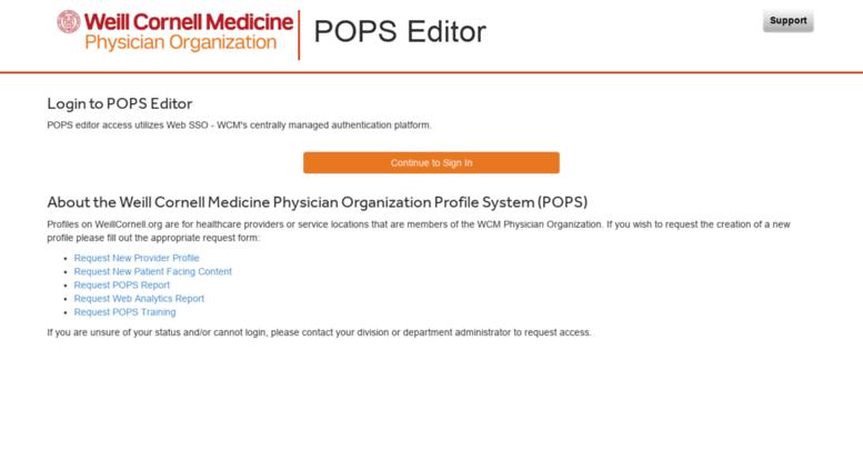 Access pops weillcornell org  Weill Cornell POPS Editor