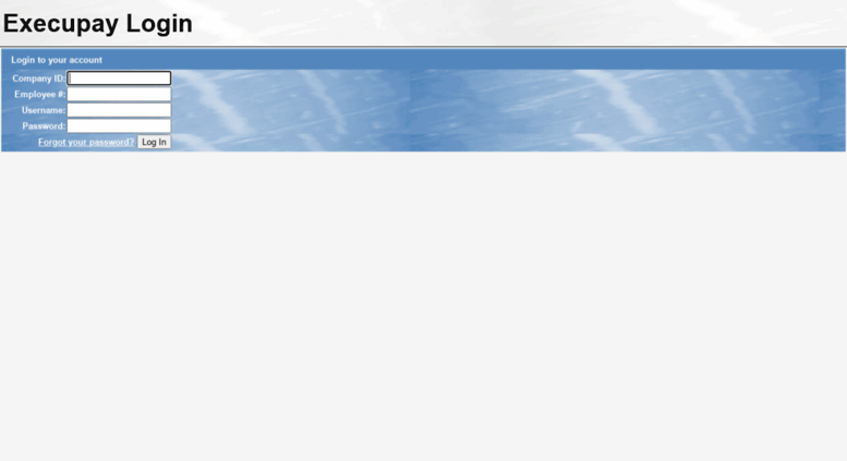 Access portal execupay com  Self-Serve Web Portal Login