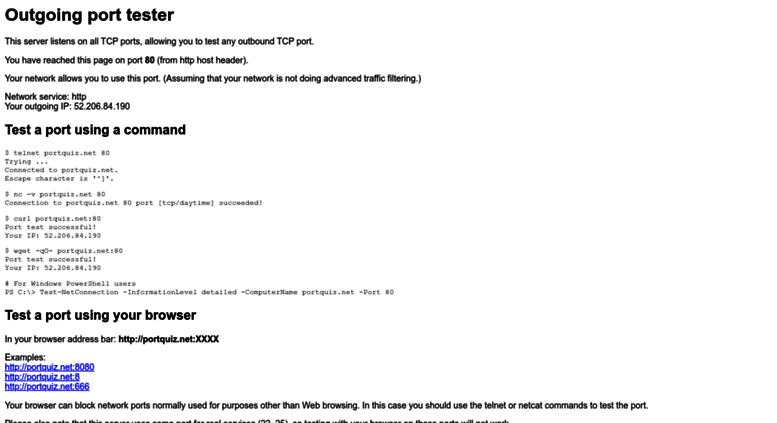 Access portquiz.net. Outgoing Port Tester