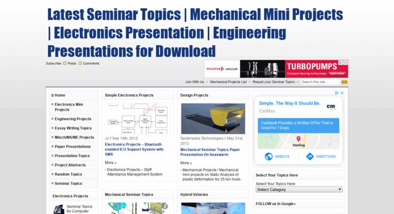 Access Presentationtopics In Latest Seminar Topics Mechanical Mini Projects Electronics Presentation Engineering Presentati