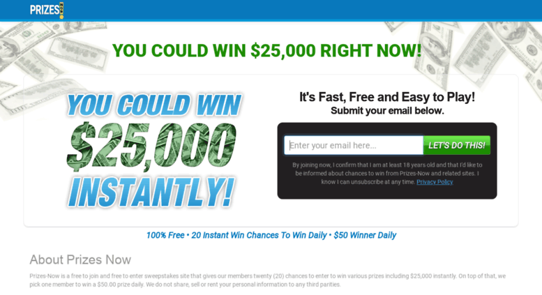 Access prizesnow com  Prizes-Now - Free Instant Win Sweepstakes