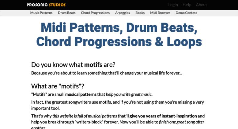Access prosonic-studios com  Midi Drum Beats, Chord