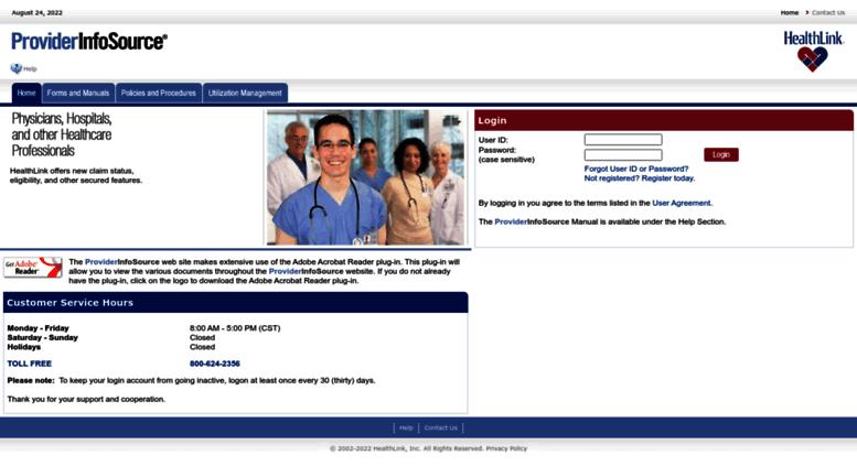 Access providerinfosource.healthlink.com. HealthLink ...