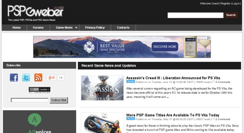 Access pspgweber com  PSPgweber: The Latest News on PS Vita, PSP