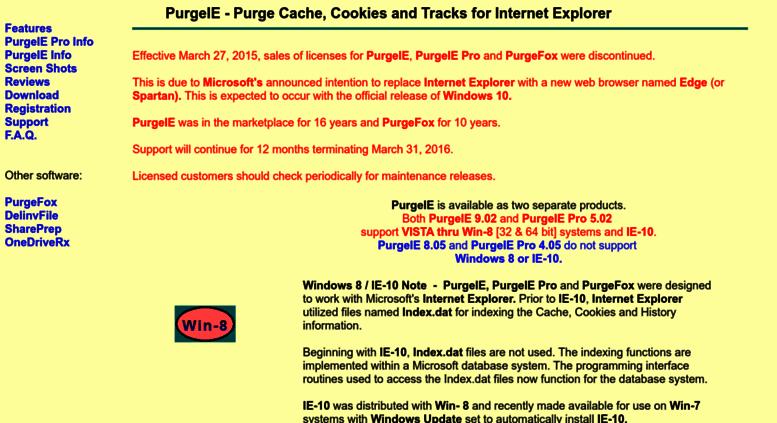 Access purgeie com  PurgeIE - Purge Cache, Cookies and Tracks for