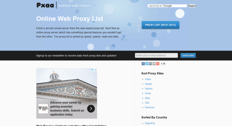 Access pxaa com  Fresh Web Proxy List