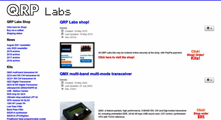 Access qrp-labs com  QRP Labs Kits