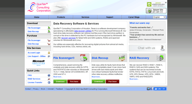 Access quetek.com. Data Recovery Software and Services - QueTek
