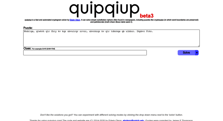 Access quipqiup com  quipqiup - cryptoquip and cryptogram solver