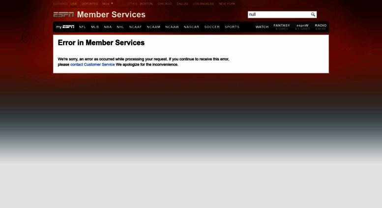 Access r espn go com  ESPN com - Member Services - Global