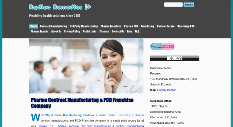 Access radicoremedies com  Pharma Contract Manufacturing