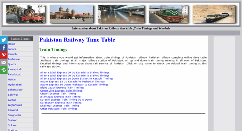 Access railpk com  Pakistan Railway Time Table Train timings