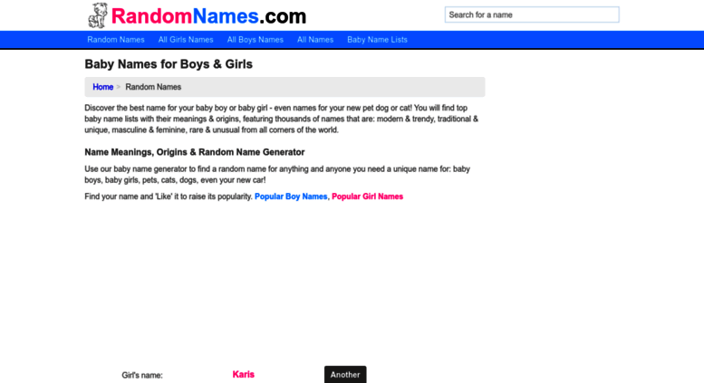 Access randomnames com  Baby Names for Boys & Girls