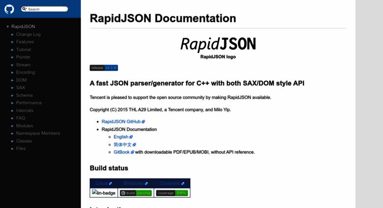 Access rapidjson org  RapidJSON: Main Page