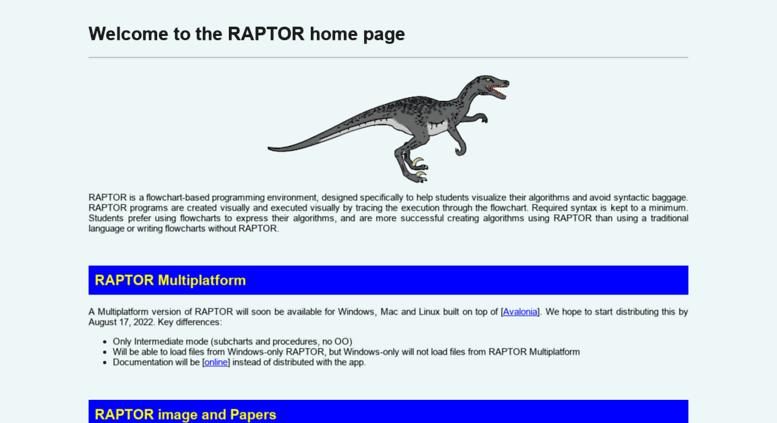Access raptor martincarlisle com  RAPTOR - Flowchart Interpreter
