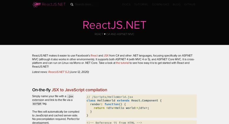Access reactjs net  React integration for ASP NET MVC | ReactJS NET