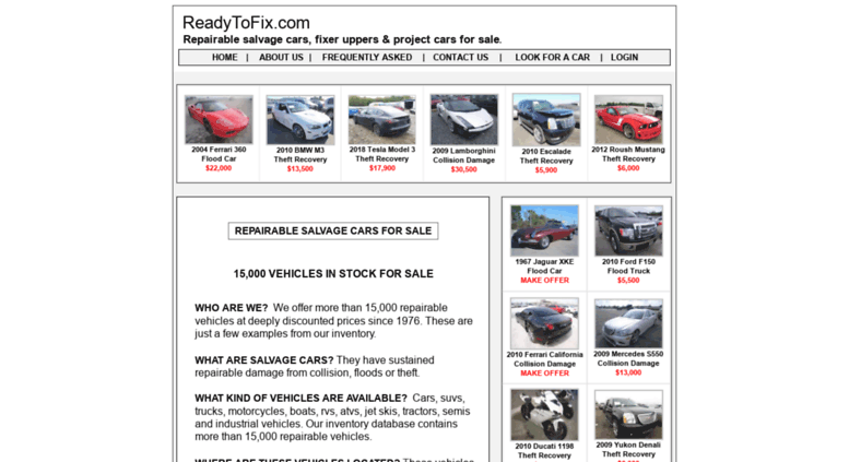 Access readytofix com  Insurance Salvage Cars, Trucks