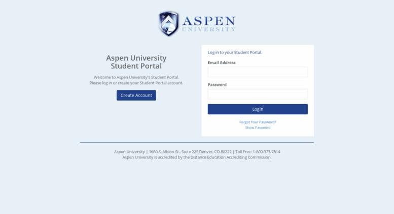 Access register aspen edu  Aspen University Student Portal