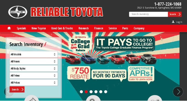 Reliable Toyota Springfield Mo >> Access Reliabletoyotamo Calls Net Toyota Dealership