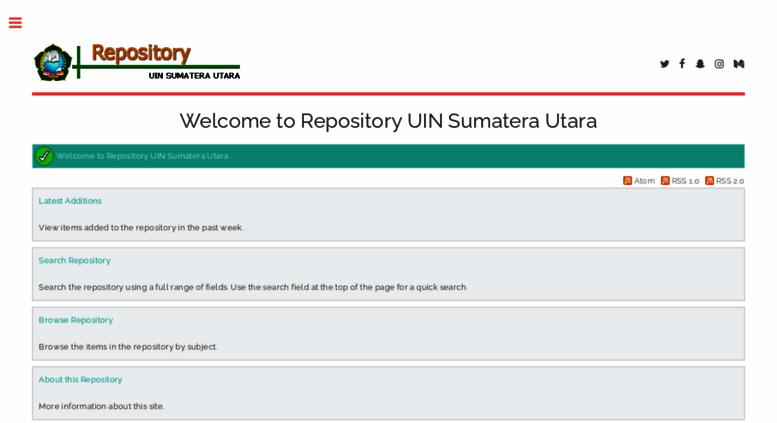 Tampilan Portal Repository UIN Sumatera Utara