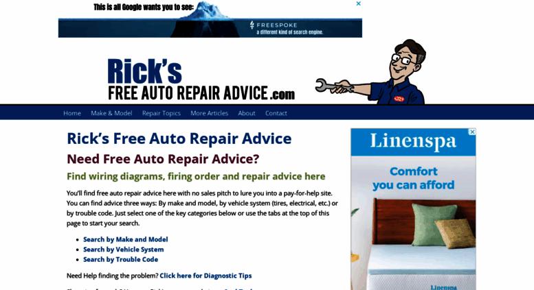 ricksfreeautorepairadvice com screenshot